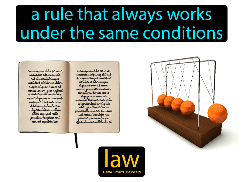 Law Definition: A rule that always works under the same conditions. Science.