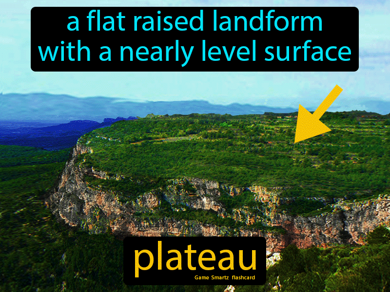 Plateau, a flat raised landform with a nearly level surface.
