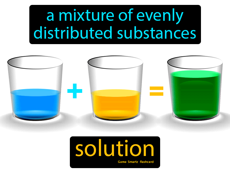 Solution Definition: A mixture of evenly distributed substances. Science.