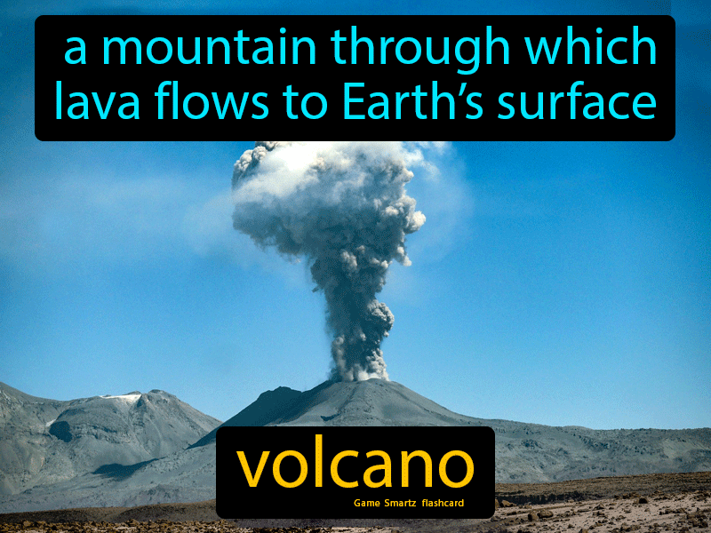 Volcano, a mountain through which lava flows to Earth's surface.