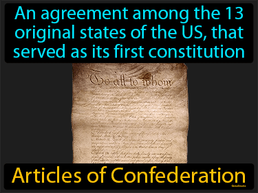 Articles Of Confederation Definition Flashcard