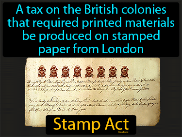 Stamp Act Definition Flashcard