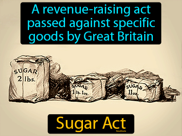 Sugar Act Definition Flashcard