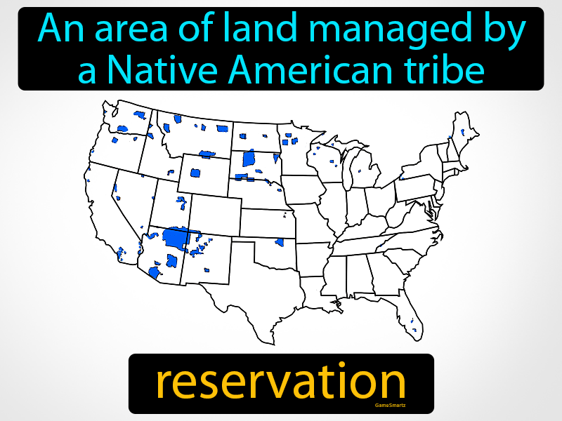 Reservation: An area of land managed by a Native American tribe.