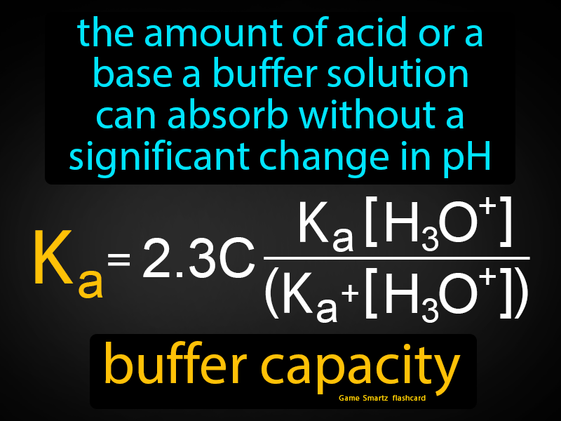 Buffer Capacity Definition: The amount of acid or a base a buffer solution can absorb without a significant change in pH. Chemistry