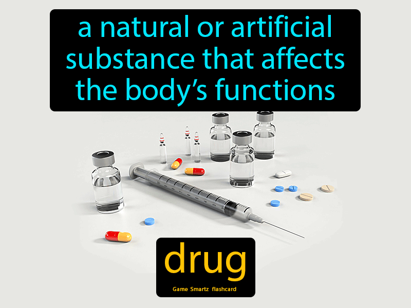 Drug, a natural or artificial substance that affects the body's functions.