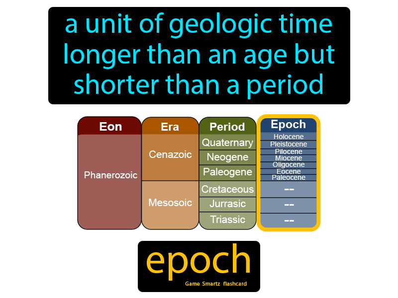 Epoch, a unit of geologic time longer than an age but shorter than a period.