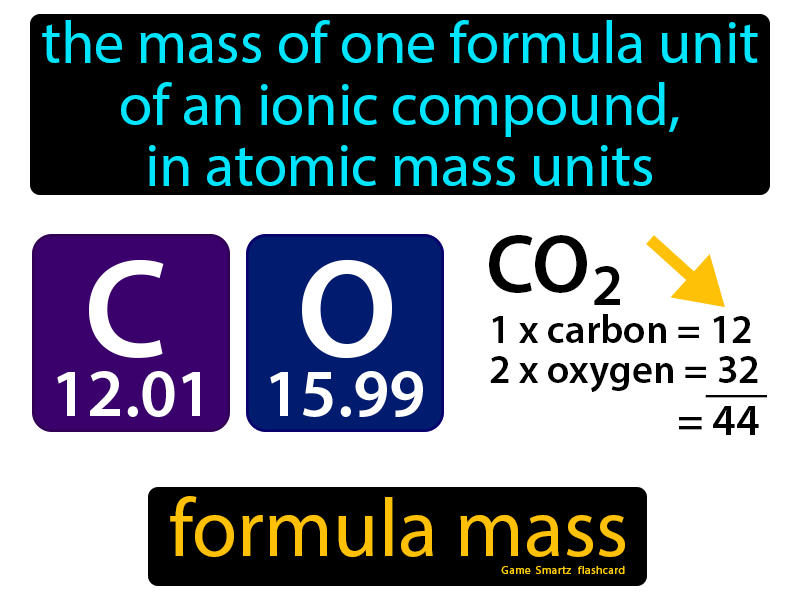 Formula Mass Definition: The mass of one formula unit of an ionic compound, in atomic mass units. Chemistry
