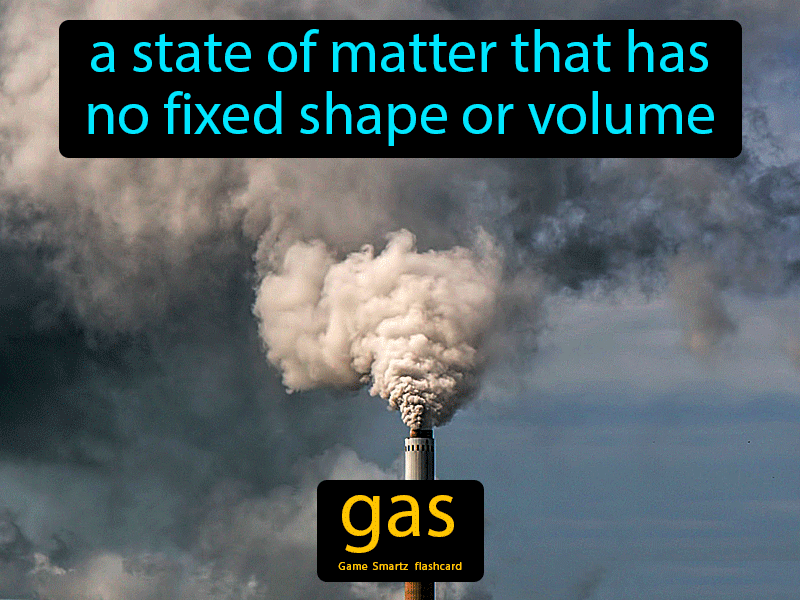 Gas Definition: A state of matter that has no fixed shape or volume. Science.