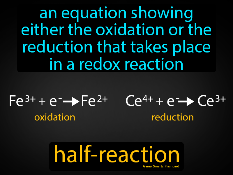 Half Reaction Definition: An equation showing either the oxidation or the reduction that takes place in a redox reaction. Chemistry