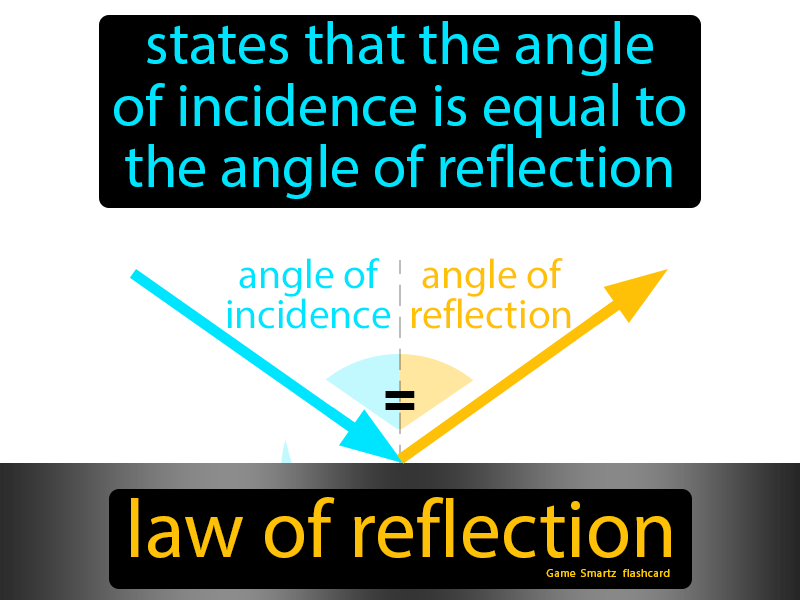 Law Of Reflection Definition: States that the angle of incidence is equal to the angle of reflection.