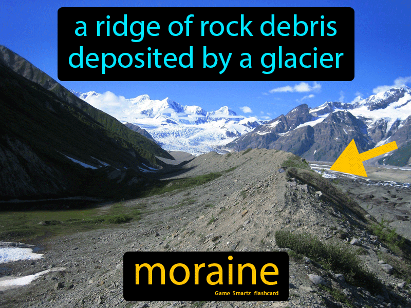 Moraine Definition: A ridge of rock debris deposited by a glacier. Science.