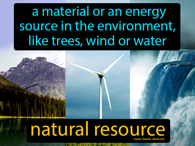 Natural resource, a material or an energy source in the environment, like trees, water or wind.