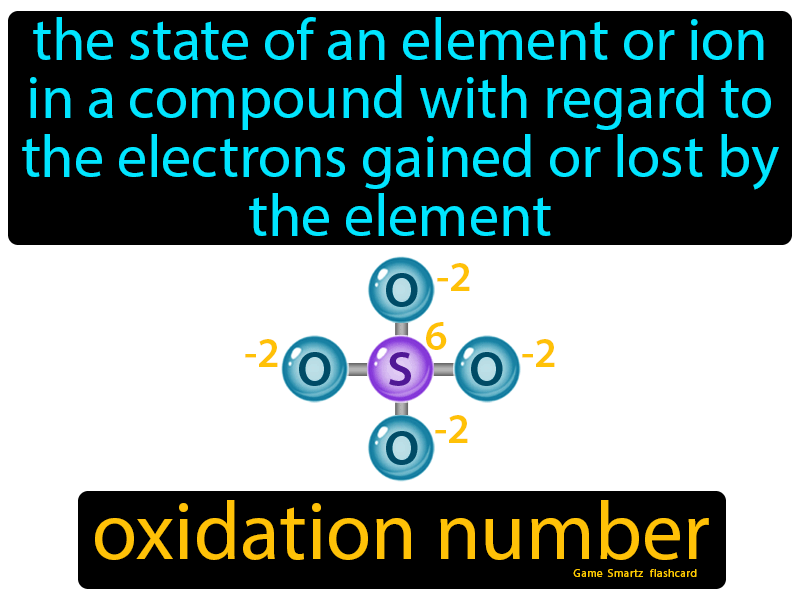 Oxidation Number Definition: The state of an element or ion in a compound with regard to the electrons gained or lost by the element. Chemistry