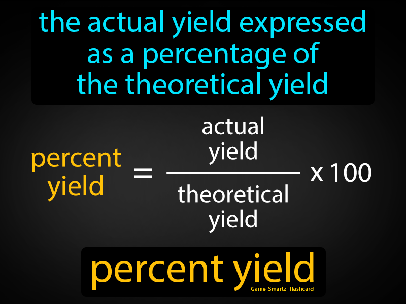 Percent Yield Definition: The actual yield expressed as a percentage of the theoretical yield. Chemistry