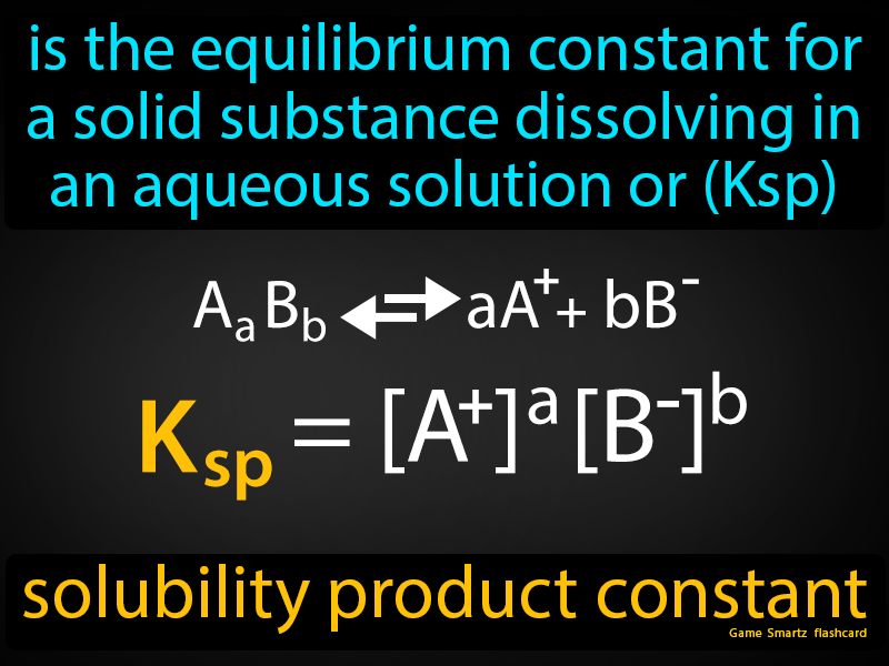 Solubility product constant, is the equilibrium constant for a solid substance dissolving in an aqueous solution or (Ksp).