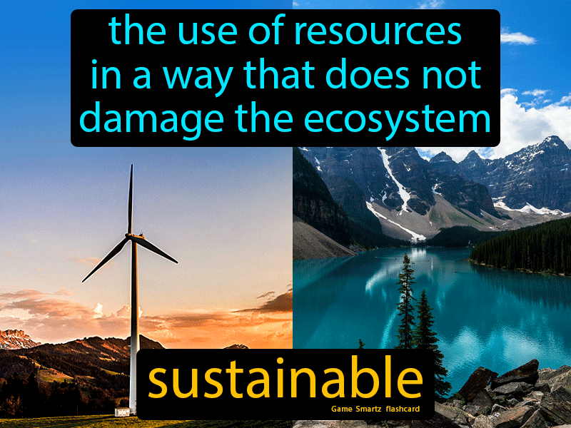 Sustainable Definition: The use of resources in a way that does not damage the ecosystem.